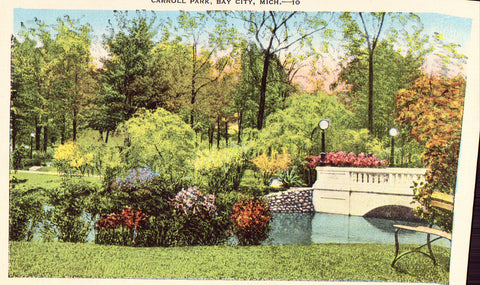 Carroll Park - Bay City,Michigan Linen Postcard