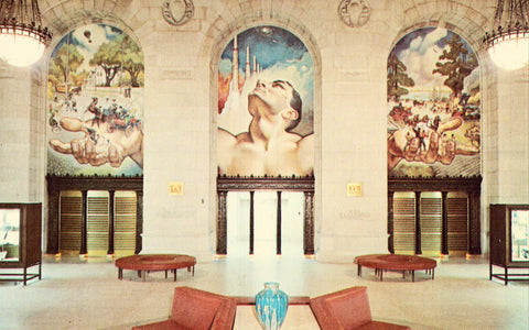 Adam Strohm Hall,Detroit Public Library - Detroit,Michigan Postcard