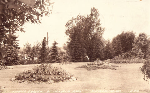 Flower Garden at Chisholm Park - Chisholm,Minnesota Real Photo Postcard