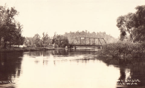 Pere Marquette River and Bridge - Scottville,Michigan Postcard