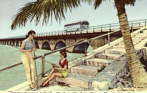 The Seven Mile Bridge between Miami and Key West-Florida