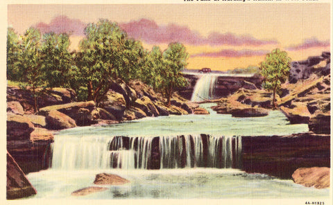 The Falls at Harding's Ranch in West Texas Linen Postcard