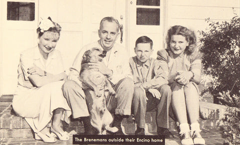 The Brenemans Outside Their Encino Home Vintage Postcard