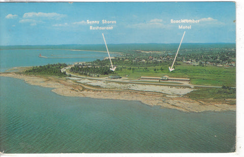 Aerial View of Sunny Shores Restaurant & Beachcomber Motel-Manistique,Michigan - Cakcollectibles - 1