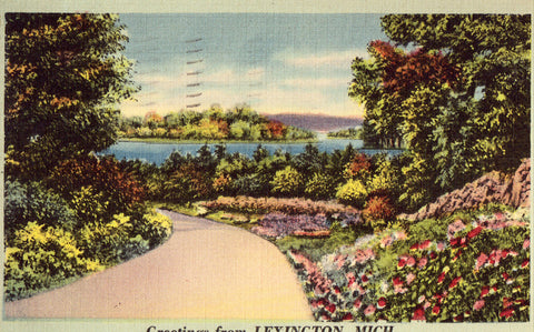 Greetings from Lexington,Michigan Linen Postcard
