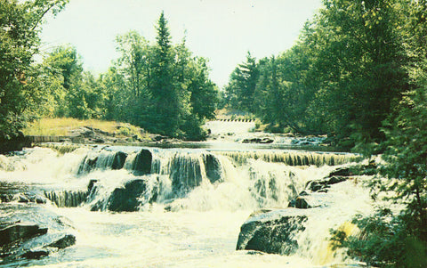 Rapids at Bond Falls -Upper Peninsula Michigan Vintage Postcards