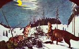 Coyotes in Winter at The Underground Forest - Frederic,Michigan Retro Postcard