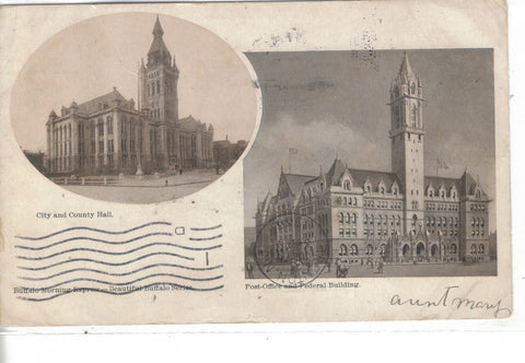 City and County Hall,Post Office and Federal Building-Buffalo,New York 1907 - Cakcollectibles - 1