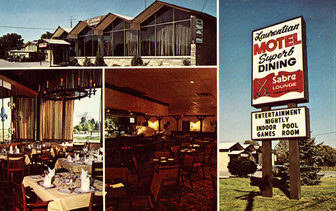 Sabre Lounge,The Laurentian Motel - Sarnia,Ontario,Canada Old Postcard