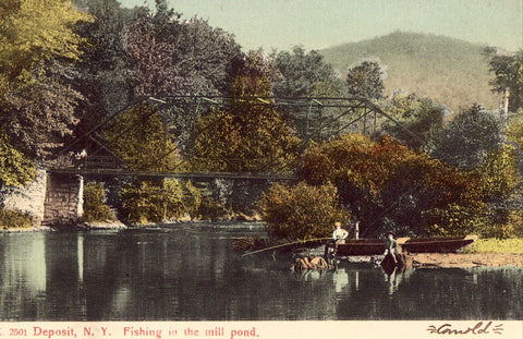 Fishing in The Mill Pond - Deposit,New York Old Postcard