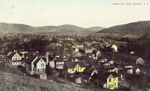 Bird's Eye View of Deposit,New York 1910 Postcard