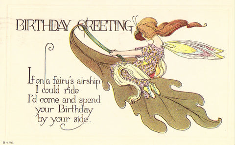 Birthday Greeting Postcard - Fairy Airship Fantasy Postcard