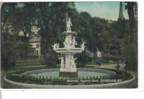 Fountain,Fayette Park-Syracuse,New York 1909 - Cakcollectibles - 1