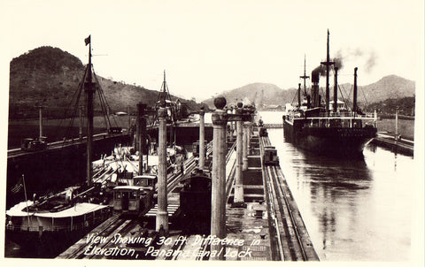 Panama Canal Lock Real Photo Postcard