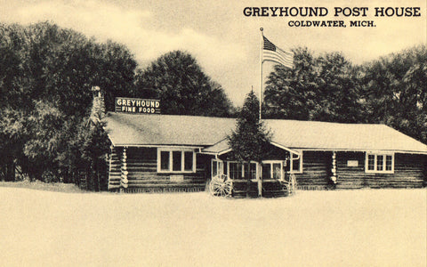 Greyhound Post House - Coldwater,Michigan Retro Postcard