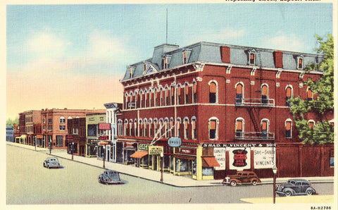 Nepessing Street - Lapeer,Michigan Linen Postcard - Cakcollectibles