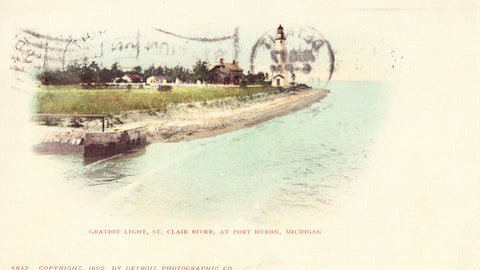 Gratiot Light,St. Clair River in Port Huron,Michigan Undivided Back Postcard