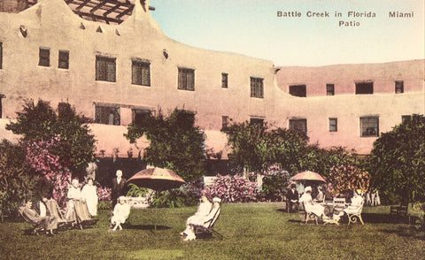 Miami Patio - Battle Creek in Florida Hand Colored Postcards