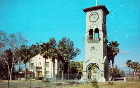 The Beale Memorial Clock Tower - Bakersfield,California vIntage Postcard