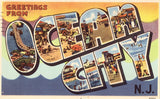 Large Letter Linen Postcard - Greetings from Ocean City,N.J.