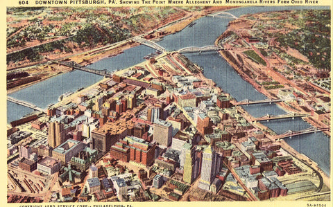 Aerial View of Pittsburgh,Pennsylvania Linen Postcard