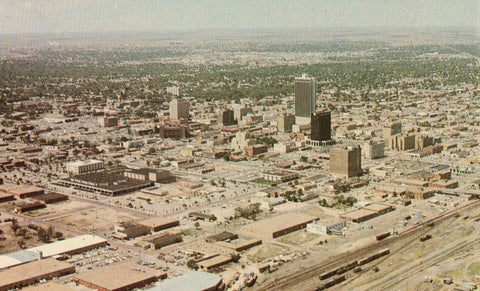 Aerial View of Amarillo,Texas Front of postcard