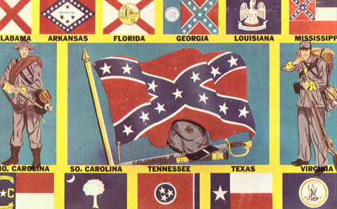 Front of Vintage Postcard - Flags of The Confederate States of America