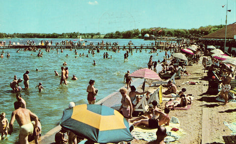 Beach Front,Indiana Beach - Monticello,Indiana.Front of vintage postcard for sale