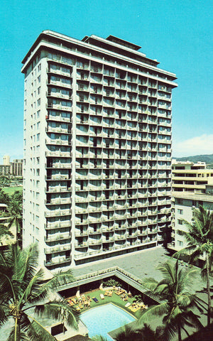 Waikiki Village Hotel - Hawaii front of retro postcards for sale