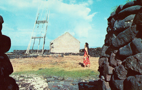 Heiau - Ancient Hawaiian Place of Sacrifice front of vintage postcard