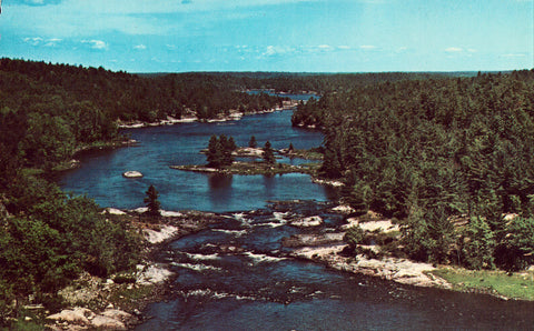 Big Pine Rapids of the French River - Ontario,Canada front of vintage postcard