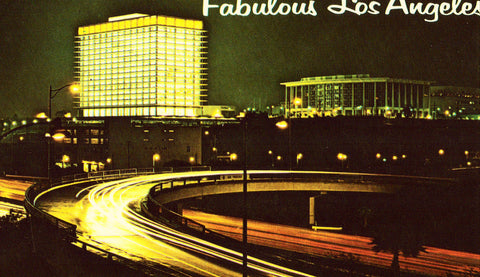 Night View of The Los Angeles Music Center and Harbor Freeway - California front of vintage postcard