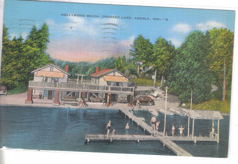 Hollywood Beach,Crooked Lake-Angola,Indiana 1939 - Cakcollectibles