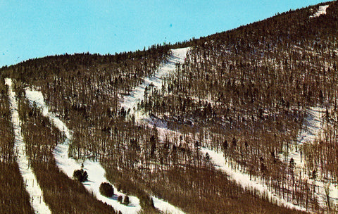 Mt. Mansfield T-Bar and Slopes - Stowe,Vermont.Front of retro postcard
