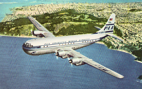 "Double-decked ""Strato"" Clipper - Pan American Airways Plane front of vintage postcard"