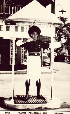 Traffic Policeman - Fiji.Front of real photo postcard.Buy postcards here