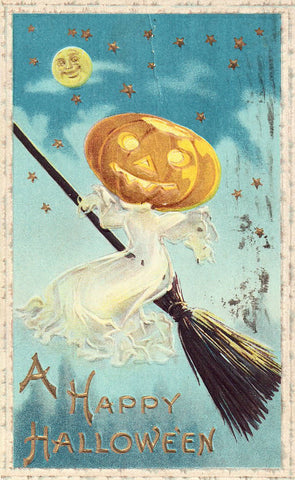 A Happy Halloween Post Card - Pumpkin Head Witch on Broom