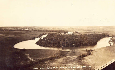 Chautauqua Park from High Bridge - Valley City,North Dakota RPPC