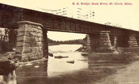 R.R. Bridge,Sauk River - St. Cloud,Minnesota Postcard
