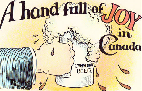 A Hand Full of Joy in Canada - Beer Mug Funny Postcard