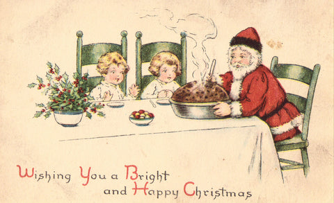 Wishing You A Bright and Happy Christmas - Santa with 2 Children Postcard