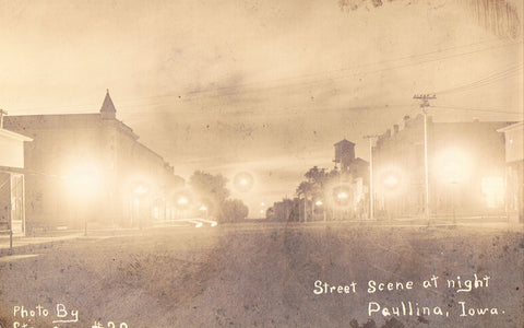 Real Photo Postcard Street Scene at Night - Paullina,Iowa
