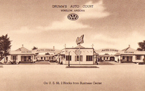 Drumm's Auto Court - Winslow,Arizona Route 66 Vintage Postcard