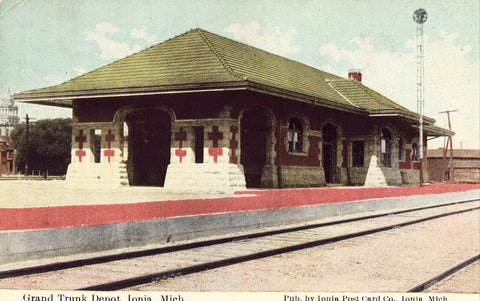 Grand Trunk Depot - Ionia,Michigan.Front of old postcard