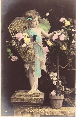 Front of Fantasy Postcard - Little Girl with Wings - Summer