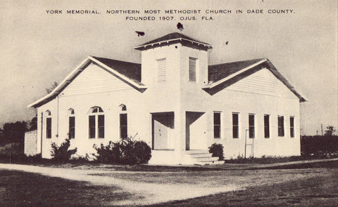 York Memorial Methodist Church - Ojus,Florida.Vintage postcard front