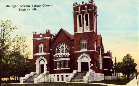 Michigan Avenue Baptist Church - Saginaw,Michigan.Vintage postcard front