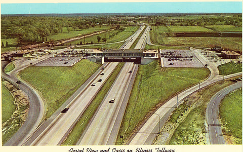 Aerial View and Oasis on Illinois Tollway.Viintage postcard front