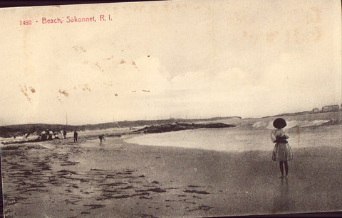 Old Postcard Front - Beach at Sakonnet,Rhode Island