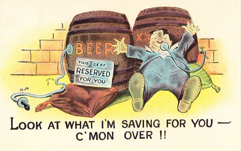 Man with Beer Barrels - Funny Postcard Front